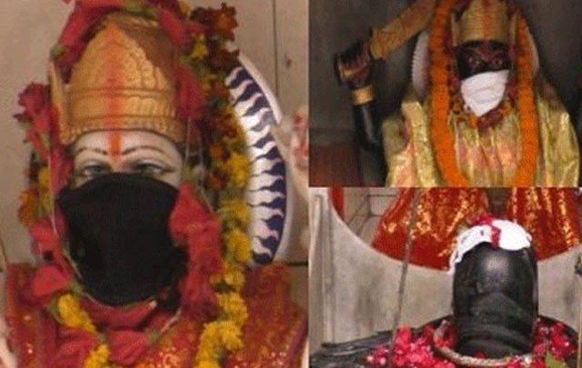 بھارت میں فضائی آلودگی؛ پنڈتوں نے دیوی دیوتاؤں کو ماسک پہنا دیئے